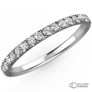 Pave Diamond Eternity Ring In 18K White Gold(0.48ct tw)