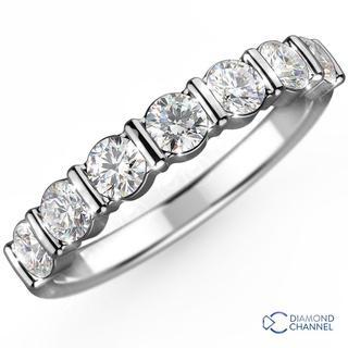 Bar Set Diamond Eternity  Ring in 9K White Gold (0.49ct tw)