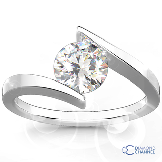 Cross Over Solitaire Diamond  Ring (RBC-0.35ct)
