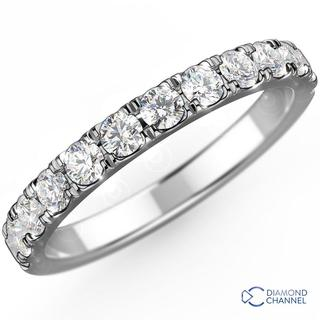 French Pave Ladies eternity Ring In 18K White Gold(0.60ct tw)