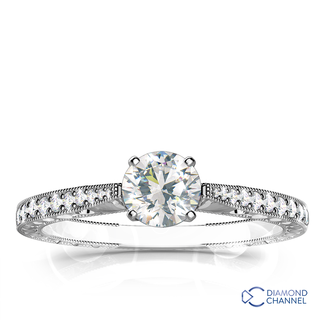 Hand Engraved Micropave Diamond Engagement Ring (0.45ct tw)