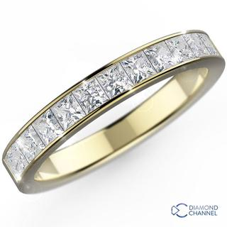Channel Set Princess Cut Diamond Ring in 9K White Gold (0.28ct tw)
