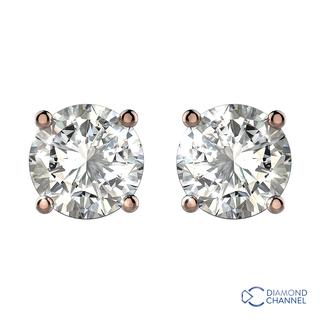 0.15ct Four Claw Diamond Stud Earrings (0.3ct TW*)