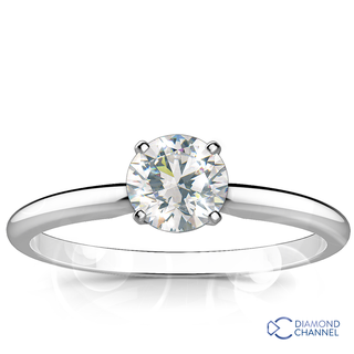 Classic Four Claw Solitaire Engagement Ring (RBC-0.46ct tw)