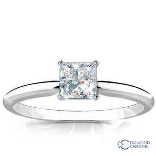 Solitaire Princess Cut Diamond Engagement Ring (PR-0.48ct)