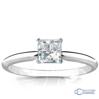 Solitaire Princess Cut Diamond Engagement Ring (PR-0.48ct)