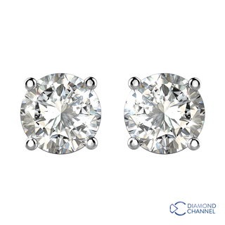 Four Claw Diamond Studs Solitaire Earrings In 9k White Gold(0.40ct tw)