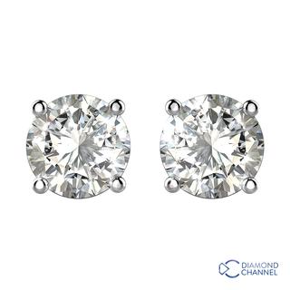 Diamond Stud Earrings in 18K White Gold (070ct.tw.)
