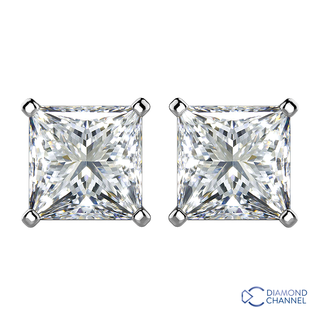 Princess Cut Diamond Stud Earrings in 9K White Gold (0.54ct tw )