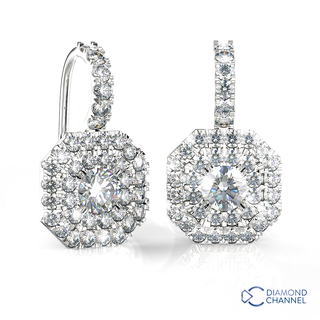 Round Double Asscher halo sheppard hook earrings (1.54ct TW*)
