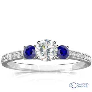 Three Stone Sapphire -Diamond Ring (1.45ct tw)