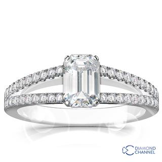 Split Shank Emerald Cut Diamond Engagement Ring (1.14ct tw)