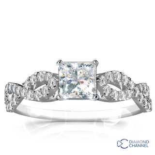 Infinity twisted Micropave Diamond Engagement Ring (0.76ct tw)