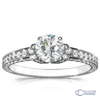 Rosh Micro-pave Diamond Engagement Ring In 9K White Gold (0.64ct tw)