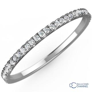 Petite Pave Diamond Eternity Ring In 9k White Gold (0.24ct tw)