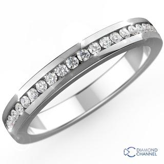 Channel Set Eternity Diamond Wedding Band In 9k White Gold(0.28ct.tw)