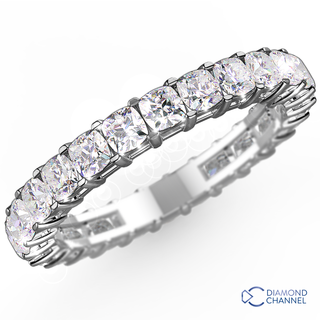 Cushion Cut Diamond Eternity Ring In 18K White Gold (0.72ct tw)