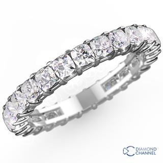 Cushion Cut Diamond Eternity Ring In 18K White Gold (0.72ct tw)