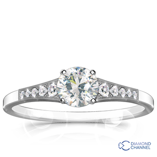 Graduated Milgrain Diamond Engagement Ring (0,62ct tw)