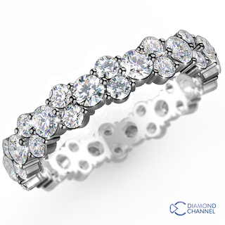 Double Claw Eternity RIng In 9K White Gold(1.00ct tw)