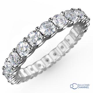 U Claw Eternity Diamond Ring in 18K White Gold (0.48ct tw)