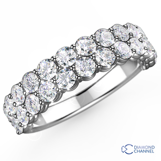 Double Row Diamond Ring in 18K White Gold (0.48 carat tw)