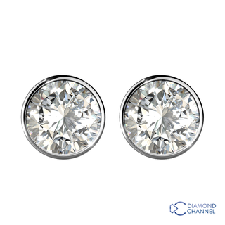 Bezel Cut Diamond Stud Earrings in 9K White Gold (0.45ct tw)
