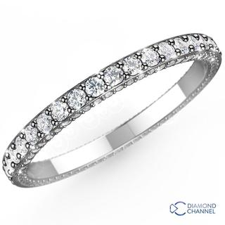Trio Micropave Diamond Eternity Ring In 9K White Gold (0.75ct tw)