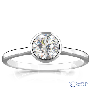 Round Cut Bezel Set Solitaire Diamond Ring (0.41ct tw)