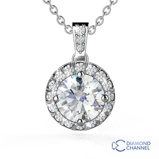 Halo Diamond Pendant in 9K White Gold (0.50ct tw)