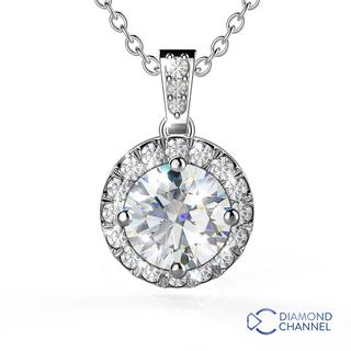 Halo Diamond Pendant in 9K White Gold (0.50ct tw)