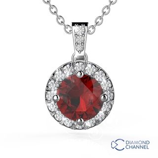 Round Shape Ruby and Diamond Pendant in 18K White gold
