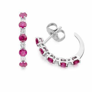 Ruby Hoop Earrings in 18K White Gold
