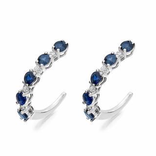 Sapphire and Diamond Hoop Earrings in 18K White Gold