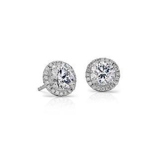 Classic Halo Diamond Stud Earrings in 9K White Gold (0.52ct tw)