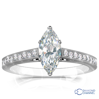 Milgrain Marquise Cut Pave Diamond Ring In 9K White Gold(0.57ct tw)