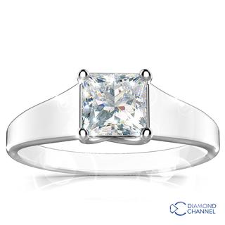 Princess Cut Four Claw Solitaire Diamond Engagement Ring (PR-0.41ct tw)