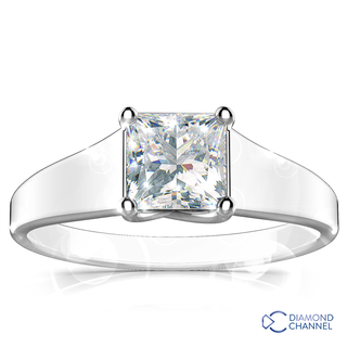 Princess Cut Four Claw Solitaire Diamond Engagement Ring (PR-0.41ct tw)