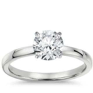 Comfort Fit Solitaire Engagement Ring  in 9k White Gold (RBC- 0.39ct tw)
