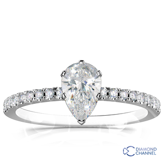 French Pave Diamond Engagement Ring (0.93ct tw)
