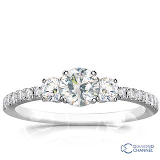 Petite Micro-Pave Trio Diamond Ring (0.72ct tw)