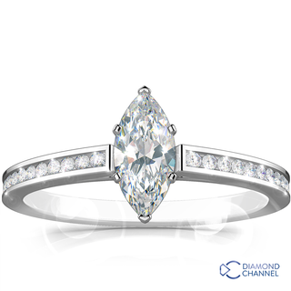 Marquise Channel Set Side Stone Engagement Ring (0.92ct tw)