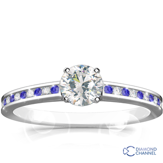 Channel Set Sapphire and Diamond Engagement Ring Set (0.74ct tw)