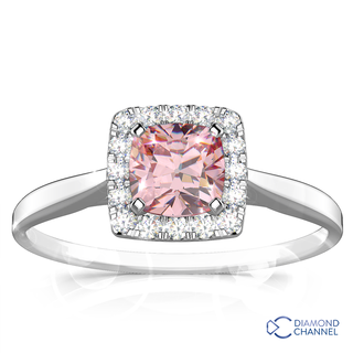 Morganite And Diamond Halo Cushion Ring (0.24ct tw)
