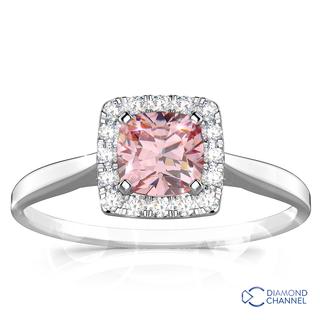 Morganite And Diamond Halo Cushion Ring (0.24ct tw)