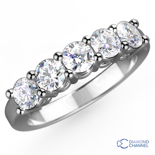 Five Stone eternity Diamond Ring in 9K White Gold (1.00ct tw)
