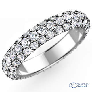 Trio Pave Diamond Eternity Ring in 9K White Gold (0.85ct tw)