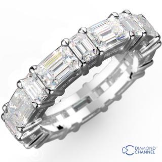 Emerald Mixed Cut Diamond Eternity Ring in 18K White Gold (2.50 carat tw)