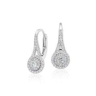Spiral Halo Diamond Earrings in 9K White Gold(0.84ct tw)