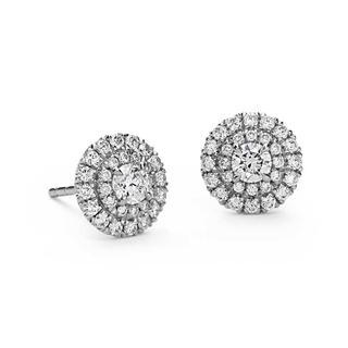 Double Halo Diamond Stud Earrings in 9K White Gold (0.90ct tw)
